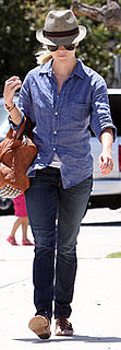Reese Witherspoon Wears Blue Button-Down, Jeans, and Alexander Wang Purse to Soccer Game