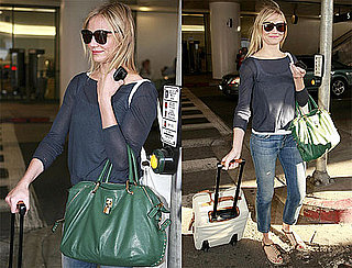 Pictures of Cameron Diaz Arriving at LAX With a Green Bag