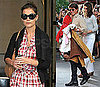 Pictures of Katie Holmes Wearing Juicy Couture Plaid Shirtdress in New York