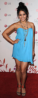 Vanessa Hudgens in Blue Strapless Tibi Dress at LG Event