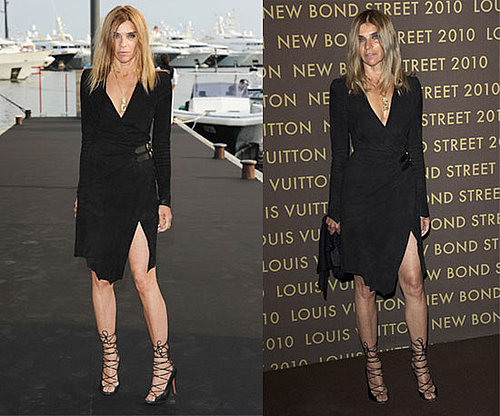 Carine Roitfeld Wears Balmain's Fall 2010 Black Dress Twice
