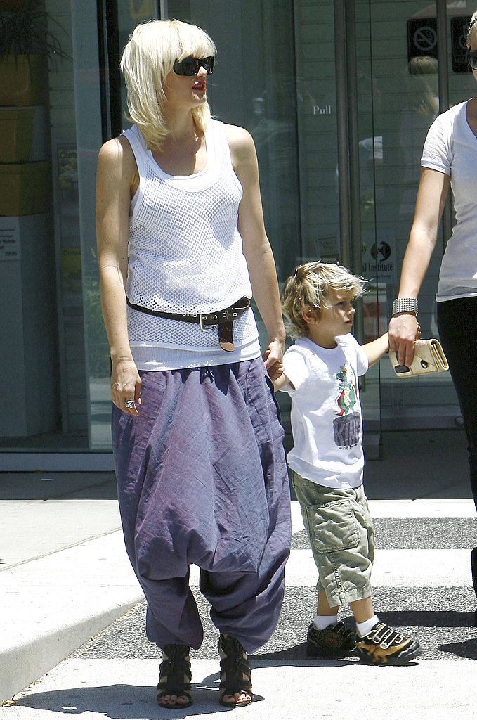 Gwen Stefani looked funkier than ever in a pair of purple harems while spending time with her family in Beverly Hills.