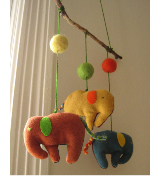 Felted Elephants Baby Mobile