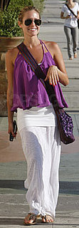 Kristin Cavallari in Purple Donna Mizani Tank and White Skirt in NYC