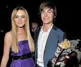 Lindsay Lohan posed with Zac Efron and his golden popcorn.