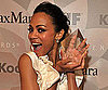Slide Picture of Zoe Saldana With Award in LA
