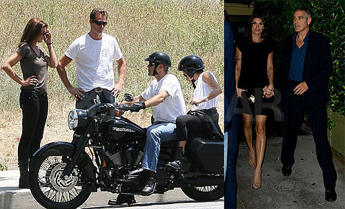 Pictures of George Clooney on a Motorcycle in LA With Elisabetta Canalis, Cindy Crawford And Rande Gerber