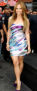 Jennifer Lopez in Strapless Sequin Dress in NYC