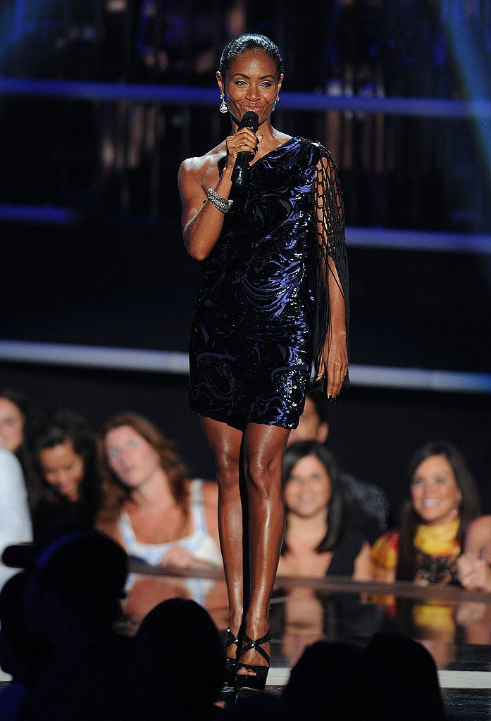 Jada Pinkett-Smith in blue and black velvet Emilio Pucci.