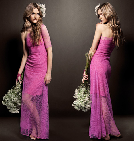 House of Holland Hot Pink Lace Wedding Dress