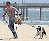 Slide Picture of Stephen Moyer and Dog on the Beach in LA