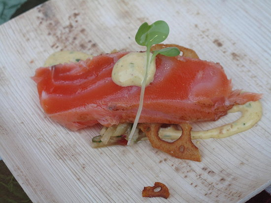Host chef Martin Brock from Gary Danko highlighted cured New Zealand Salmon with jicama, lotus root chips, and curry remoulade.