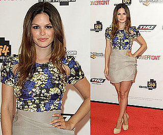 Rachel Bilson Wearing a Beige Skirt, Floral Blouse, and Brian Atwood Pumps 2010-06-17 11:00:22