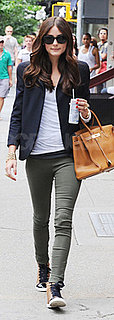 Olivia Palermo Wears Sneakers and Navy Blazer in NYC