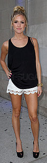 Kristin Cavallari Wears White Lace Shorts and a Black Tank to MTV Canada