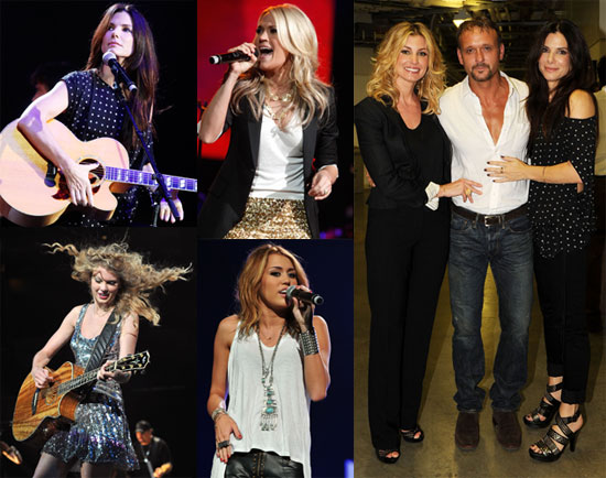 Pictures of Sandra Bullock, Taylor Swift, Miley Cyrus, Carrie Underwood, and More at the Nashville Rising Concert 2010-06-23 16:00:59