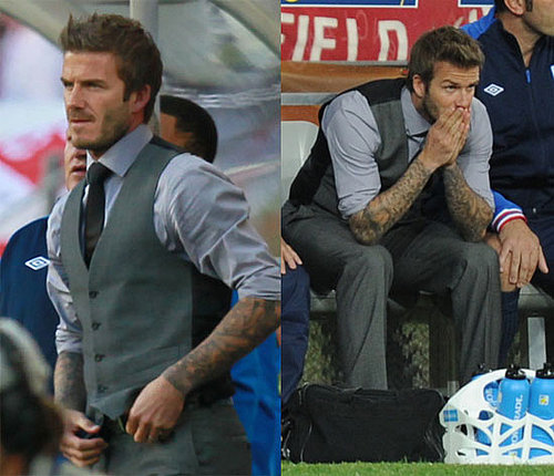 Pictures of David Beckham at the England vs. Slovenia Match During the World Cup 2010-06-23 11:00:00