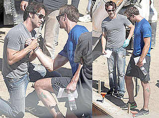 Pictures of Stephen Moyer and Alexander Skarsgard Practicing Fight Scenes on the Set of True Blood 2010-06-25 12:30:00