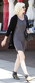 Kirsten Dunst Wears T-Shirt Dress and Black Cardigan in LA
