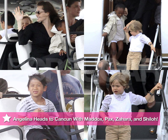 Exclusive Photos: Angelina Heads to Cancun With Maddox, Pax, Zahara, and Shiloh!