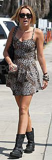 Miley Cyrus Wearing Leopard Dress and Frye Boots