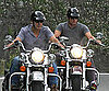 Slide Picture of George Clooney and Woody Harrelson Riding Bikes in Lake Como
