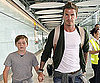 Slide Picture of David and Brooklyn Beckham at Heathrow
