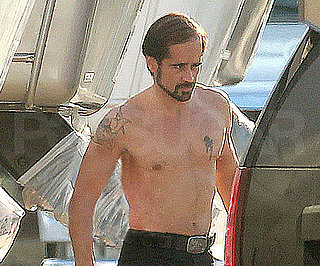 Slide Picture of Colin Farrell Shirtless With a Wig on Set of Horrible Bosses
