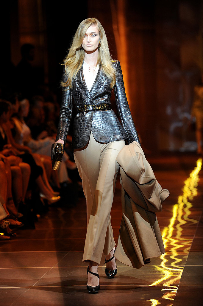 A leather blazer — it need not be crocodile — instantly jazzes up a pair of trousers. Add a belt for extra fashiony oomph.