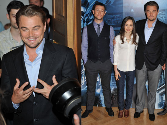 Leonardo DiCaprio, Ellen Page, and Joseph Gordon-Levitt at a London Photo Call For Inception