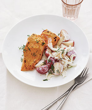 Mustard Salmon With New Potato Salad Recipe