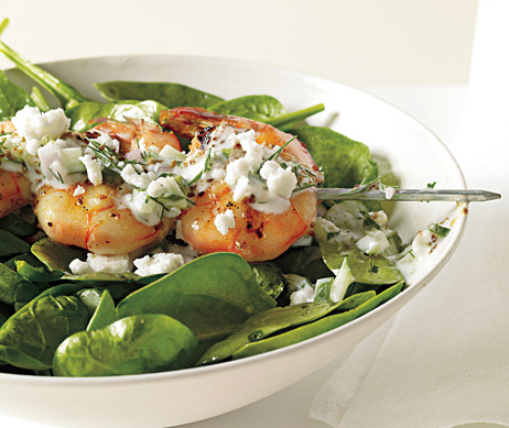 Recipe For Shrimp Skewers With Tzatziki, Spinach, and Feta