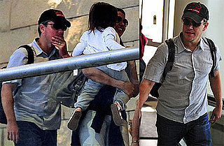 Pictures of Matt and Luciana Damon Leaving LAX With Their Children