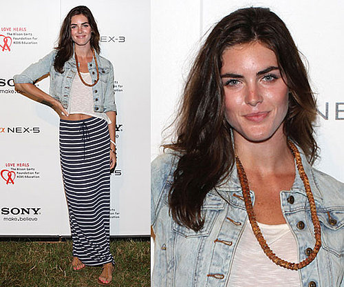 Hilary Rhoda Wearing Striped Maxiskirt and Acid Wash Denim Jacket 2010-07-12 10:00:22