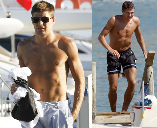 Pictures of Shirtless Footballer Steven Gerrard On Holiday in Ibiza. Spain Beat Holland 1-0 to Win The World Cup