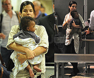 Sandra Bullock Brings Baby Louis on Board a Flight to LA