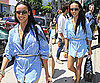 Selita Ebanks Shopping in a Blue Shirtdress