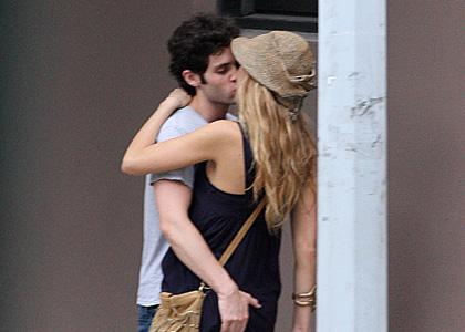 Blake Lively and Penn Badgley  showed a little PDA while in New York City's Meatpacking District