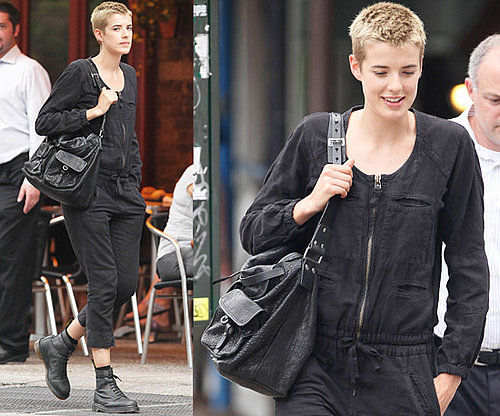 Photos of Agyness Deyn Dressed in Black Jumpsuit in New York City
