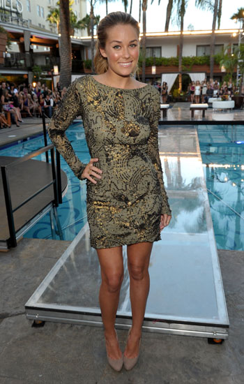 LC farewells The Hills in 2010 in a long sleeved mini dress by Tadashi Shoji.