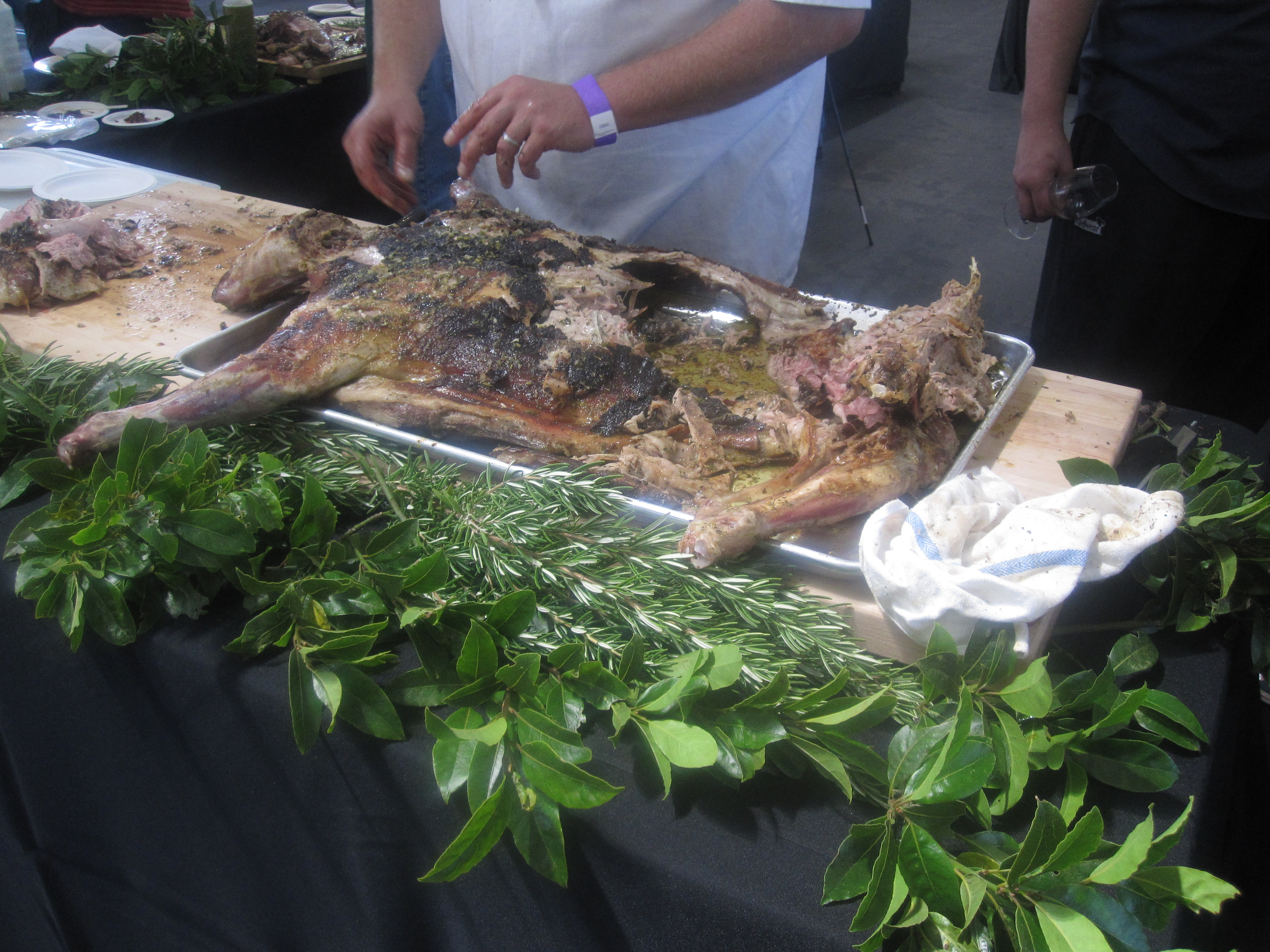 After the judging concluded, they brought out a whole roasted lamb and sliced it up for everyone to enjoy.
