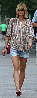 Heidi Klum Wears Plaid Shirt and Jean Shorts in NYC