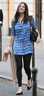 Liv Tyler Wears Plaid Tunic and Leggings in Paris