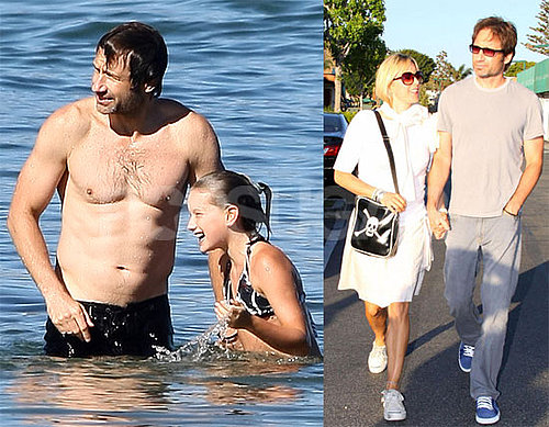 Photos of David Duchovny Shirtless at Beach, Holding Hands with Tea Leoni