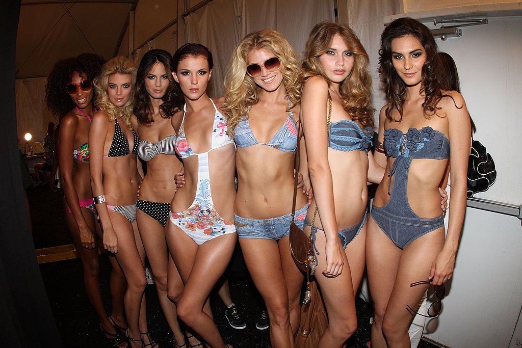 Beach babes backstage at Dolores Cortes.