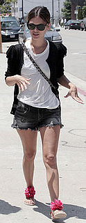Rachel Bilson Wears Lanvin Sandals and Jean Shorts in LA