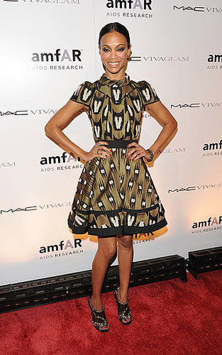 Zoe wore Louis Vuitton to the amfAR party.