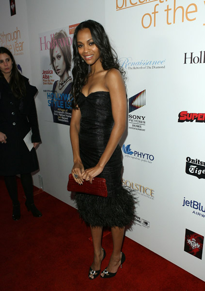 Zoe in fluffy LBD at the Hollywood Life Breakthrough of the Year Awards in '07.