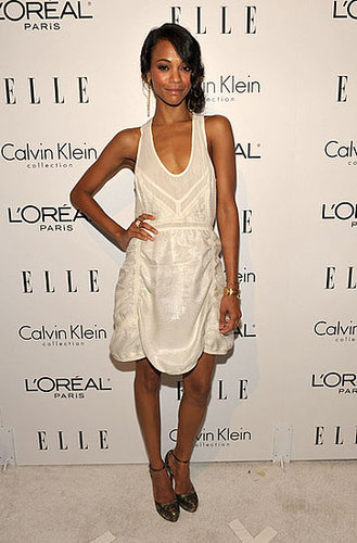 Zoe in a ruched Calvin Klein confection at the 16th annual Elle Women in Hollywood Tribute event in '09.