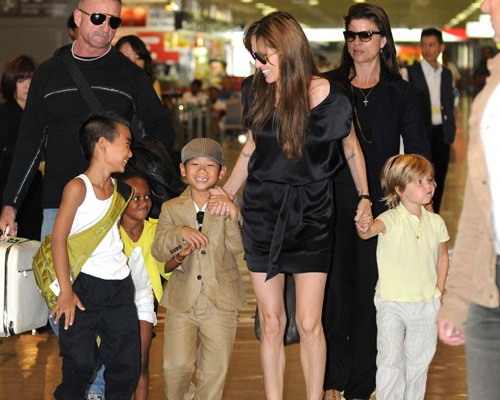 Angelina Jolie and the kids were spotted arriving at Narita International Airport in Narita, Japan on Monday (July 26).